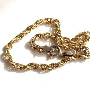 Vintage Sterling Silver rope bracelet gold plate
